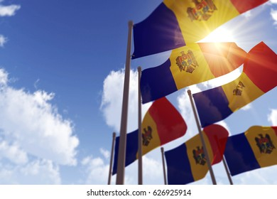 Moldova flags waving in the wind against a blue sky. 3D Rendering
