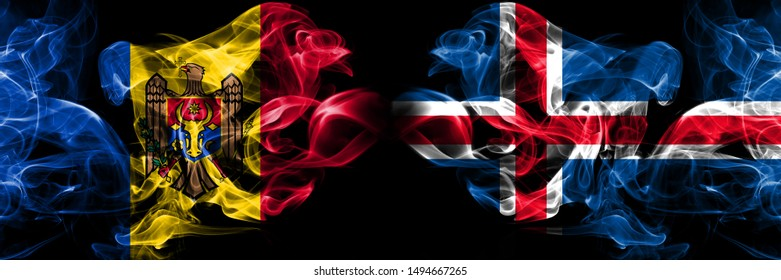 Moldova, Moldovan, Iceland, Icelandic competition thick colorful smoky flags. European football qualifications games