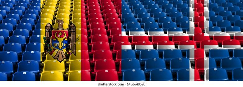 Moldova, Moldovan, Iceland, Icelandic, flip stadium seats concept. European football qualifications games.