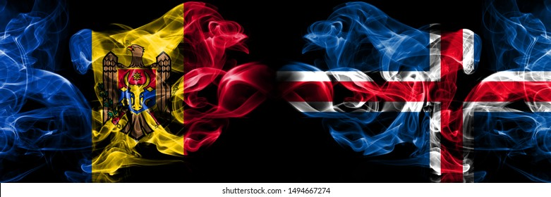 Moldova, Moldovan, Iceland, Icelandic, flip competition thick colorful smoky flags. European football qualifications games
