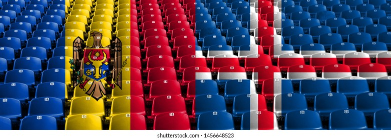 Moldova, Moldovan, Iceland, Icelandic stadium seats concept. European football qualifications games.
