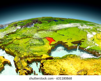 Moldova in red on model of planet Earth as seen from orbit. 3D illustration with detailed planet surface. Elements of this image furnished by NASA.