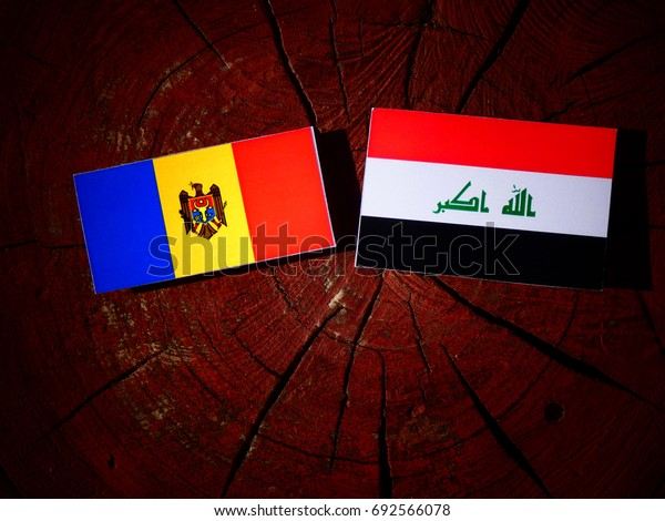 Moldovan flag with Iraqi flag on a tree stump isolated