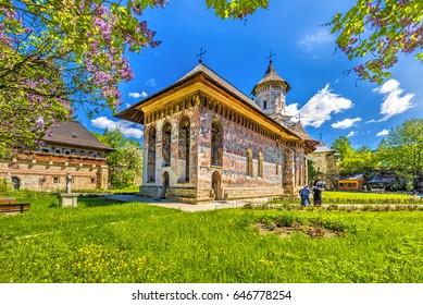 Moldovita orthodox painted church monastery,  Moldavia, Bucovina, Romania