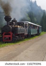Moldovita, Suceava/Romania - 8/7/2014: The narrow gauge railroad Hutulca train in Bucovina makes daily trips from Moldovita to Argel