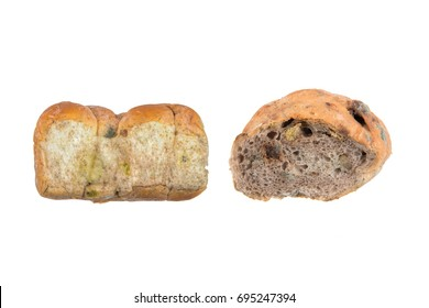 Moldy bread isolated on white background