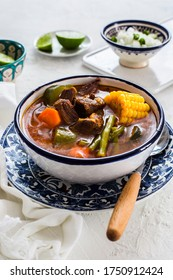 Mole de olla: mexican beef stew with vegetables and chilli broth