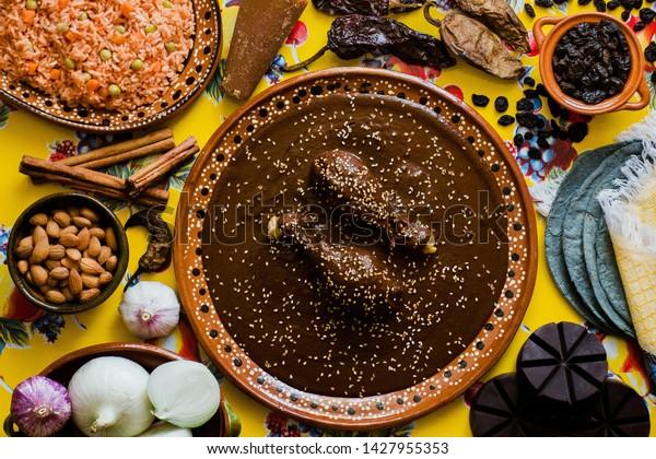 Mole Mexicano, Poblano mole ingredients, mexican spicy food traditional in Mexico