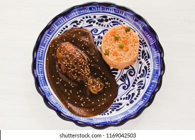 Mole Poblano with Chicken and rice is Mexican Food in Puebla Mexico
