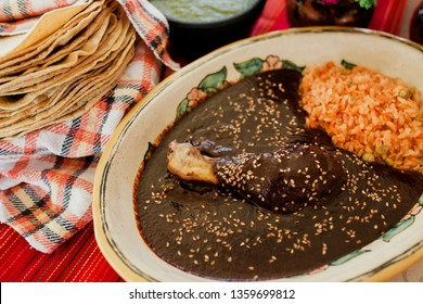 Mole Poblano Traditional Mexican Food with Chicken in Mexico