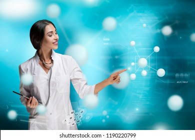 Molecular Biology, Genetics and Medical Concept. A woman, scientist, doctor or biologist, is working in a futuristic, augmented reality virtual space, interacting or researching on molecular level