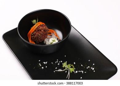 Molecular Cuisine. Delicious soup with beetroot. Stock image.