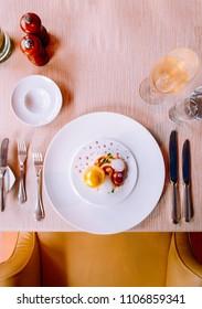 Molecular gastronomy creativity modern cuisine, beautiful dessert dish decoration in fine dinning restaurant, top view shot