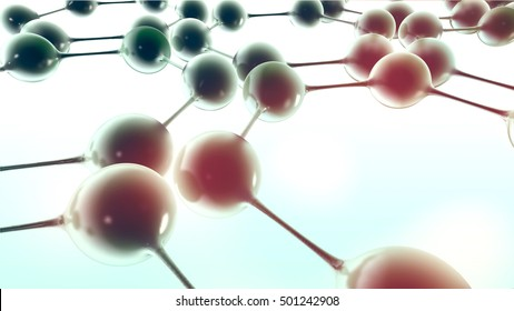 Molecular, protein structure model, 3d render illustration