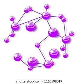molecular structure, isolated on white background raster illustration
