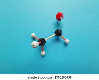 Molecular structure model of acetaldehyde molecule. Acetaldehyde (ethanal) is an organic chemical compound produced by plants, and it is one of the most important aldehydes.