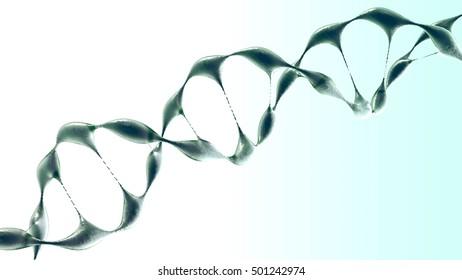 Molecular structure model DNA, 3d render illustration