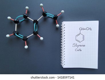 Molecular structure model and structural chemical formula of styrene molecule. Styrene (ethenylbenzene, vinylbenzene, phenylethene)is an organic compound and is the precursor to polystyrene.