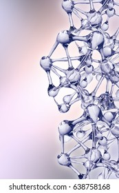Molecule illustration over blue background, with Life and biology, medicine scientific, molecular research. 3D rendering