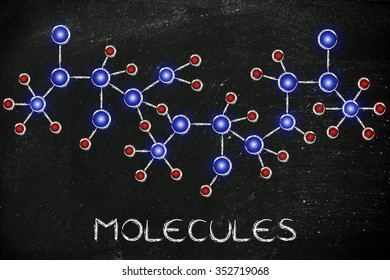 molecule inspired illustration with glowing centres (atoms) and connections