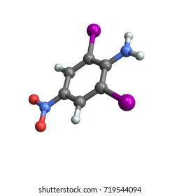 A molecule on white background, 3d illustration, amine