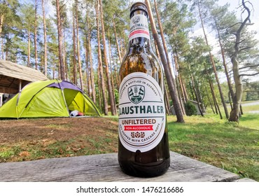 Moletai/Lithuania August 11, 2019 Can of Clausthaler non-alcoholic German beer. Maximum 0,49% Vol. alcohol. Clausthaler is the pioneer and key driver of non-alcoholic malt beverages.