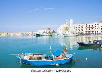 Molfetta, Apulia, Italy - A traditional fishing boat at the harbor of Molfetta