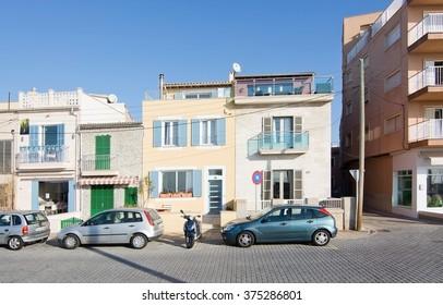 MOLINAR, MALLORCA, BALEARIC ISLANDS, SPAIN - DECEMBER 22, 2015: Molinar buildings in sunshine on December 22, 2015 in Palma de Mallorca, Balearic islands, Spain