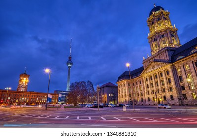 The Molkenmarkt in Berlin with the Altes Stadthaus, the Town Hall and the Television Tower at night