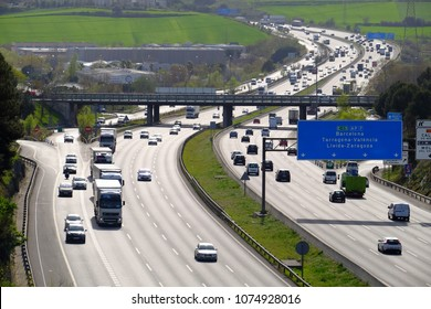 Mollet del Valles, Catalonia / Spain - April 5, 2018: traffic in the AP7 highway near of Barcelona capital of Catalonia
