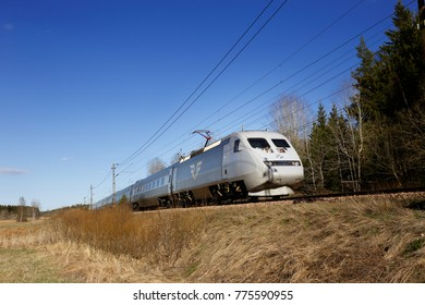 Molnbo, Sweden - May 3, 2017: Swedish high-speed train class X2 operated by SJ AB as the X2000 service.