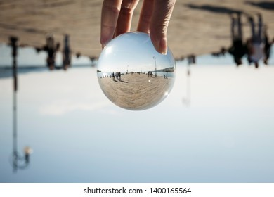 The Molo Audace in Trieste, Italy, trough a ball lens