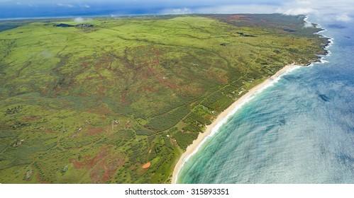Molokai, Hawaii Aerial of the White Sand Beach Shoreline