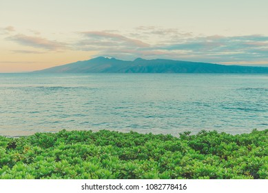 Molokai And The Pailolo Channel As Seen From Napili Bay On The Island Of Maui At Sunrise