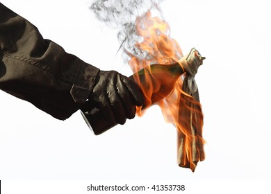 A molotov cocktail, ready for throwing
