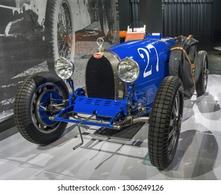 Molsheim, France/ February 6, 2019: This year, elite automobile maker Bugatti is celebrating its 110th anniversary of making fast and luxurious cars such as this, a 1927 Bugatti Type 35 racecar.