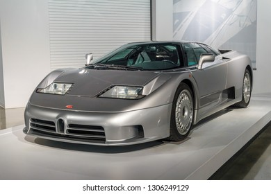 Molsheim, France/ February 6, 2019: This year, elite automobile maker Bugatti is celebrating its 110th anniversary of making fast and luxurious cars such as this, a Bugatti EB110.