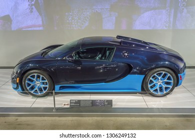 Molsheim, France/ February 6, 2019: This year, elite automobile maker Bugatti is celebrating its 110th anniversary of making fast and luxurious cars such as this, a Bugatti Veyron.