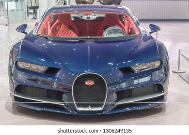 Molsheim, France/ February 6, 2019: This year, elite automobile maker Bugatti is celebrating its 110th anniversary of making fast and luxurious cars such as this, a Bugatti Chiron.