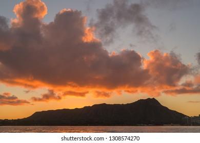 Molten Gold Lava Sunrise at Diamond Head in Waikiki, Hawaii.