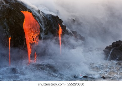 Molten Lava dripping into the ocean
