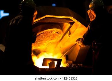 Molten metal. Aluminum foundry. Master alloys manufacturing