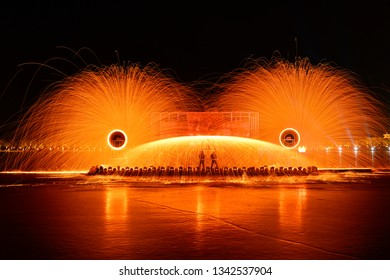 Molten steel in high temperature melting, non-material cultural heritage, while the iron is hot
