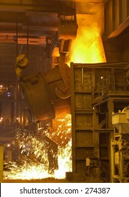 Molten steel pouring.