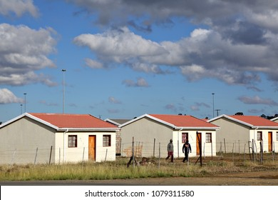 MOLTENO, SOUTH AFRICA - A low cost housing development provided by the government in South Africa. Subsidized housing forms part of the country's Reconstruction & Development Program (RDP). Editorial.