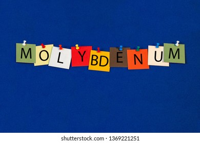 Molybdenum – one of a complete periodic table series of element names - educational sign or design for teaching chemistry.