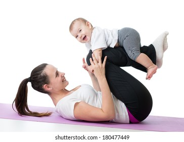 mom with baby doing gymnastics and fitness exercises