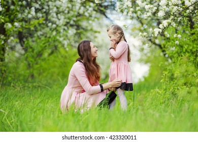 Mom with baby garden