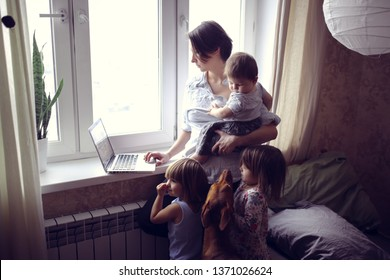 Mom with children and a dog looking for information on a laptop near the window, business mom and lifestyle