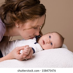 Mom communicates with her baby